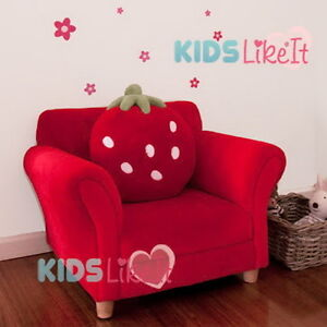 Image is loading GIRLS-Wooden-Red-Fleece-STRAWBERRY-SOFA-COUCH-w- & GIRLS Wooden Red Fleece STRAWBERRY SOFA COUCH w/ CUSHION *New* KIDS ...