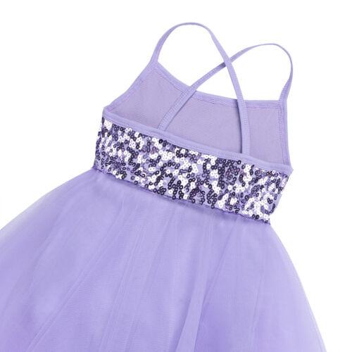 Girls Ballet Dance Dress Kids Leotard Glittery Latin Ballerina Camisole Costumes