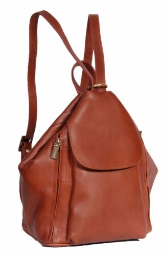 Womens Brown Leather Backpack Casual Rucksack Walking Cycling Hiking Work Bag