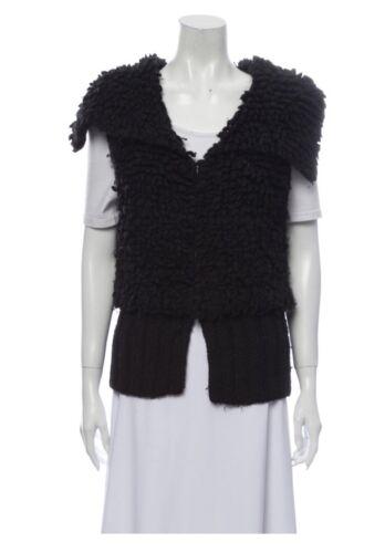 Alexander Wang Black Chunky Knit Wool Vest Large