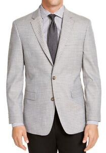 Tommy Hilfiger Mens Sport Coat Gray Size 44 Long Gingham Modern-Fit $295 241