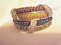 Affinity Multi-color Genuine Diamond Ring Sterling 1/2 Cttw Size 10 Qvc