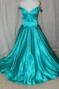 NWT-Sherri-Hill-51825-Turquoise-satin-size-12-long-beaded-formal-PROM-gown