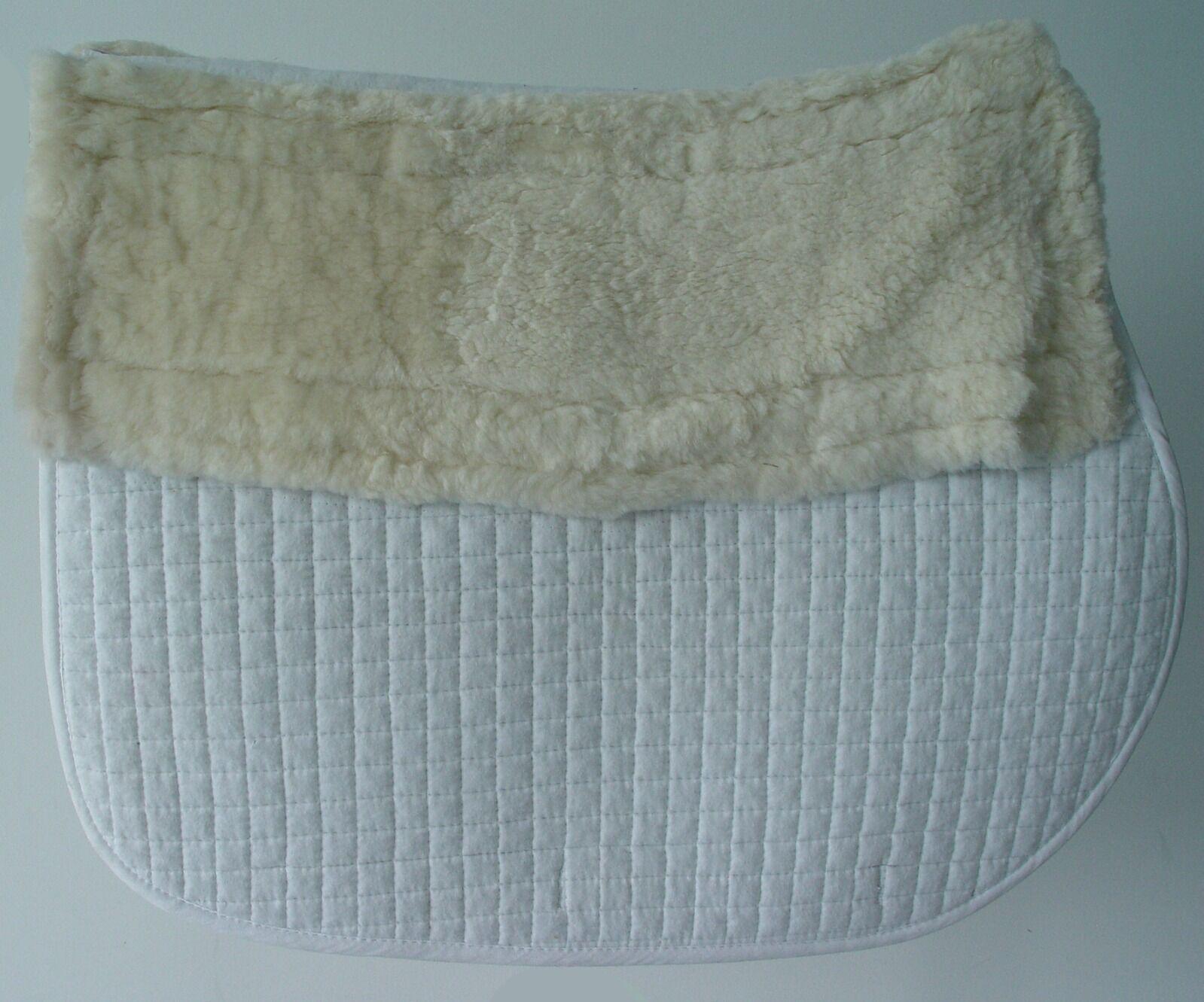 Sheepskin AP Pad, Detachable, Spine Channeled, High High High Wither, EquuFelt, bianca f3ba1a