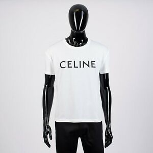 CELINE-HOMME-540-Classic-Crewneck-Tshirt-In-White-Celine-Printed-Cotton-Jersey