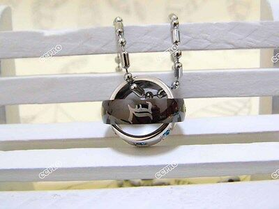 360° Rotatable Double-ring alloy metal necklace for Death Note L sign w/ chain!