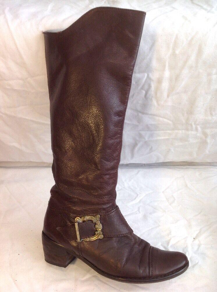 ELUE par NOUS Brown Knee High Leather Boots Size 38