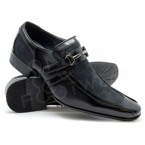 Black Shoes Mens New Italian Smart Party Wedding Dress Formal Faux Leather 6-11