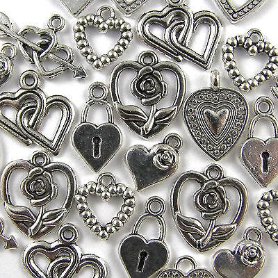 50 Mixed Love Heart Charms Tibetan Silver Pendants - 8 Designs 10-25mm