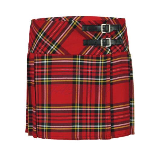 New Ladies Womens Royal Stewart Tartan Scottish Billie Kilt Mod Mini Skirt 6-16