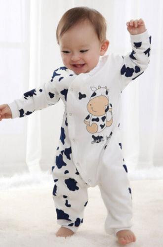 Baby Boys Girls Toddler Cow Cotton Outfits  Romper Jumpsuit Bodysuit Clothes Set