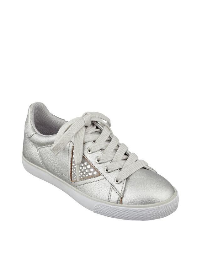 GUESS Marline Metallic Sneakers Silver Rhinestone embellished US 9