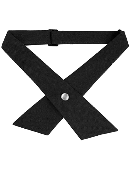 Adjustable Criss-Cross Bowtie School Uniform Snap Button Neck Tie Black