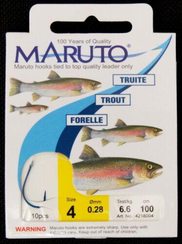 blaue Haken fertig gebunden mit 100cm Forellenvorfach Maruto Forellenhaken