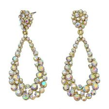 GOLDEN Aurora Borealis Diamante Orecchini Luccicanti Prom Party Bridal DANGLY 0368