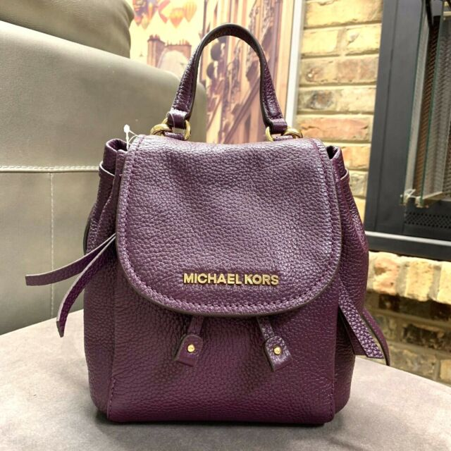 43e3026fa4fb Michael Kors Riley Small Flap Pack Xbody Drawstring Backpack Style Bag  Damson