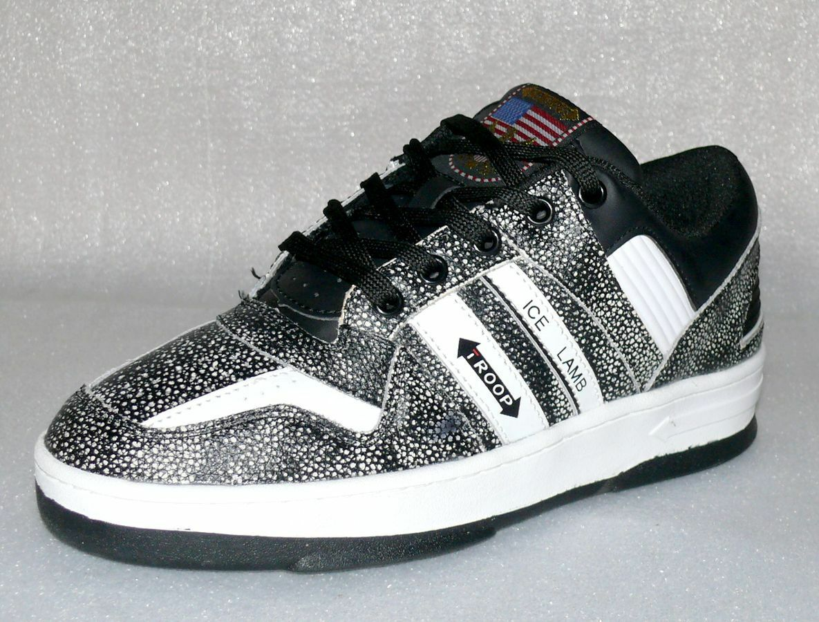World OF Troop ICE Lamb Leder Herren Schuhe Freizeit Sneaker 47 US13 Black Weiß
