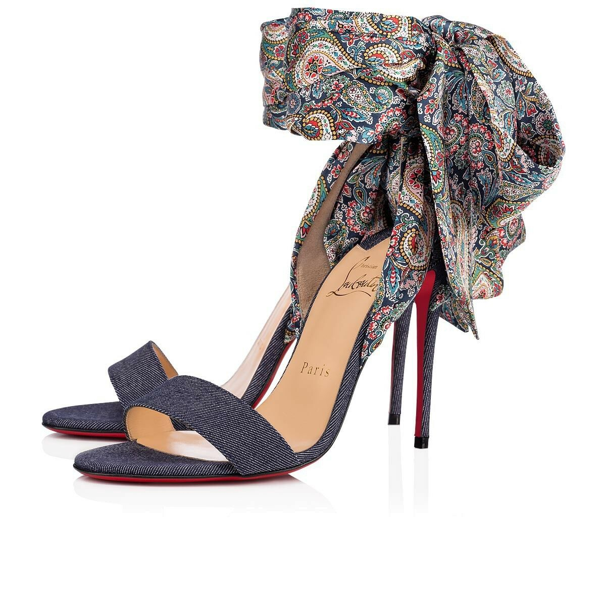 NIB Christian Louboutin Sandale Du Desert 100 bluee Lace Up Sandal Heel Pump 36.5