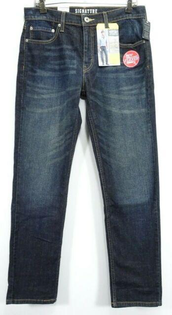 New Signature Levi Mens Modern Fit Skinny Stretch Med Blue Denim Jeans 32 x 32