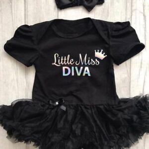 Nouveau-né Diva Tutu Ange, Holographique Little Miss Diva Couronne, Robe Noire Cadeau-afficher Le Titre D'origine DernièRe Technologie