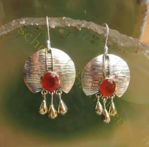 Pendiente-Cornalina-Rojo-Piedra-De-Aries-cristal-dorado-gotas-plata-esterlina
