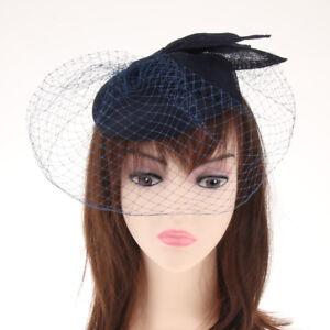 Pillbox With Fishnet Veil Fascinator Hat Black Retro Vintage Wedding Races