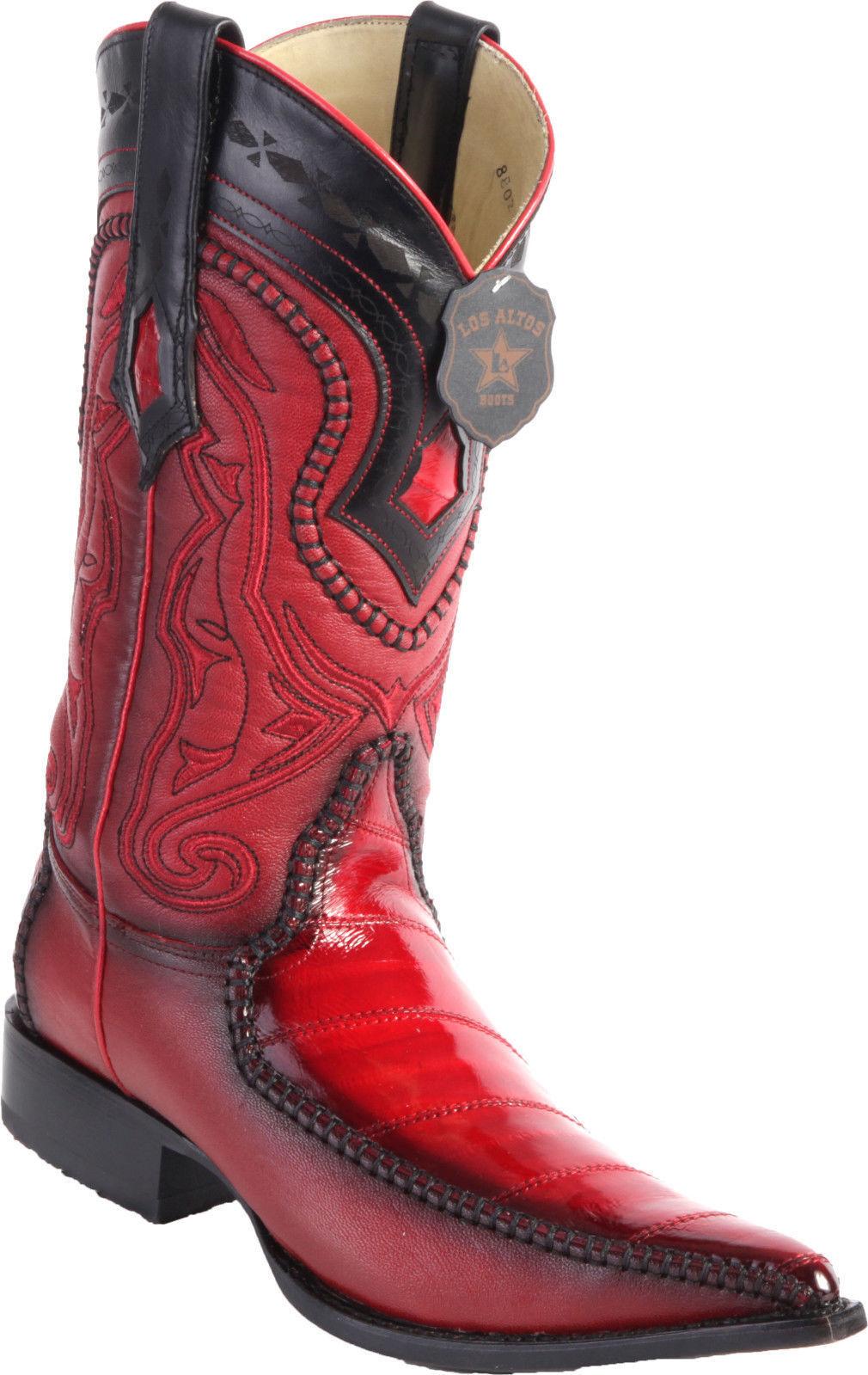LOS ALTOS 3X Uomo RED GENUINE EEL 3X ALTOS TOE WESTERN COWBOY BOOT D 22a656