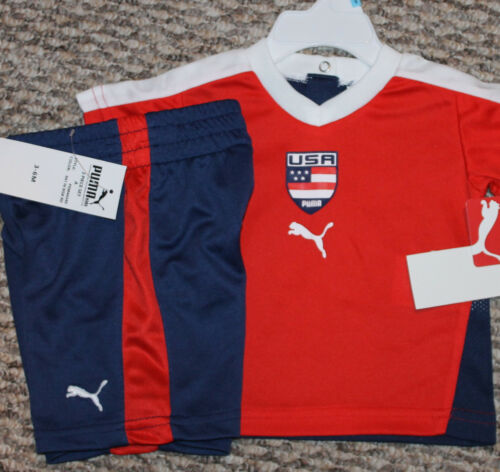 New - Size 3-6 mo Shirt, Shorts; USA; Red//Blue Baby Boys Puma Summer Outfit