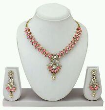 Designer Antique Gold Plated Diamond & kundan Necklace Earring  Jewellery Set