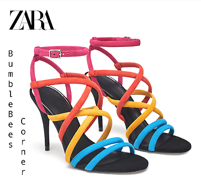 ZARA High Heel Sandals MULTICOLORED SUEDE LEATHER Tube Straps Shoes NWT 5301301   eBay