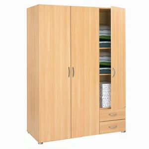 kleiderschrank w scheschrank zapo buche dekor 3 t ren 2 schubk sten 121 cm breit ebay. Black Bedroom Furniture Sets. Home Design Ideas