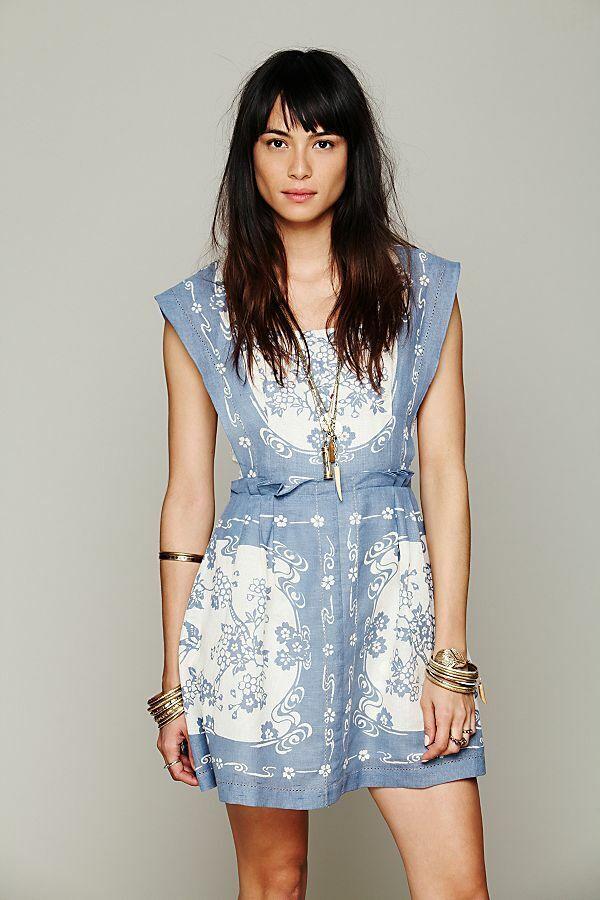 Libre People nouveau Rohommetics Song Bird-tablier en lin bleu robe de coton taille M