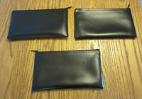3 Black Vinyl Zipper Bank Bags Money Jewelry Pouch Coin Currency Wallet Coupons