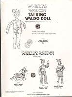 Vintage Ad Sheet 1410 - Mattel Toys - Wheres Waldo Doll - Woof