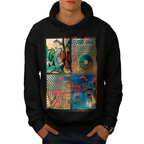 Wellcoda Sweatshirt New Hooded Art Hoodie Casual Black Mens rYqvr