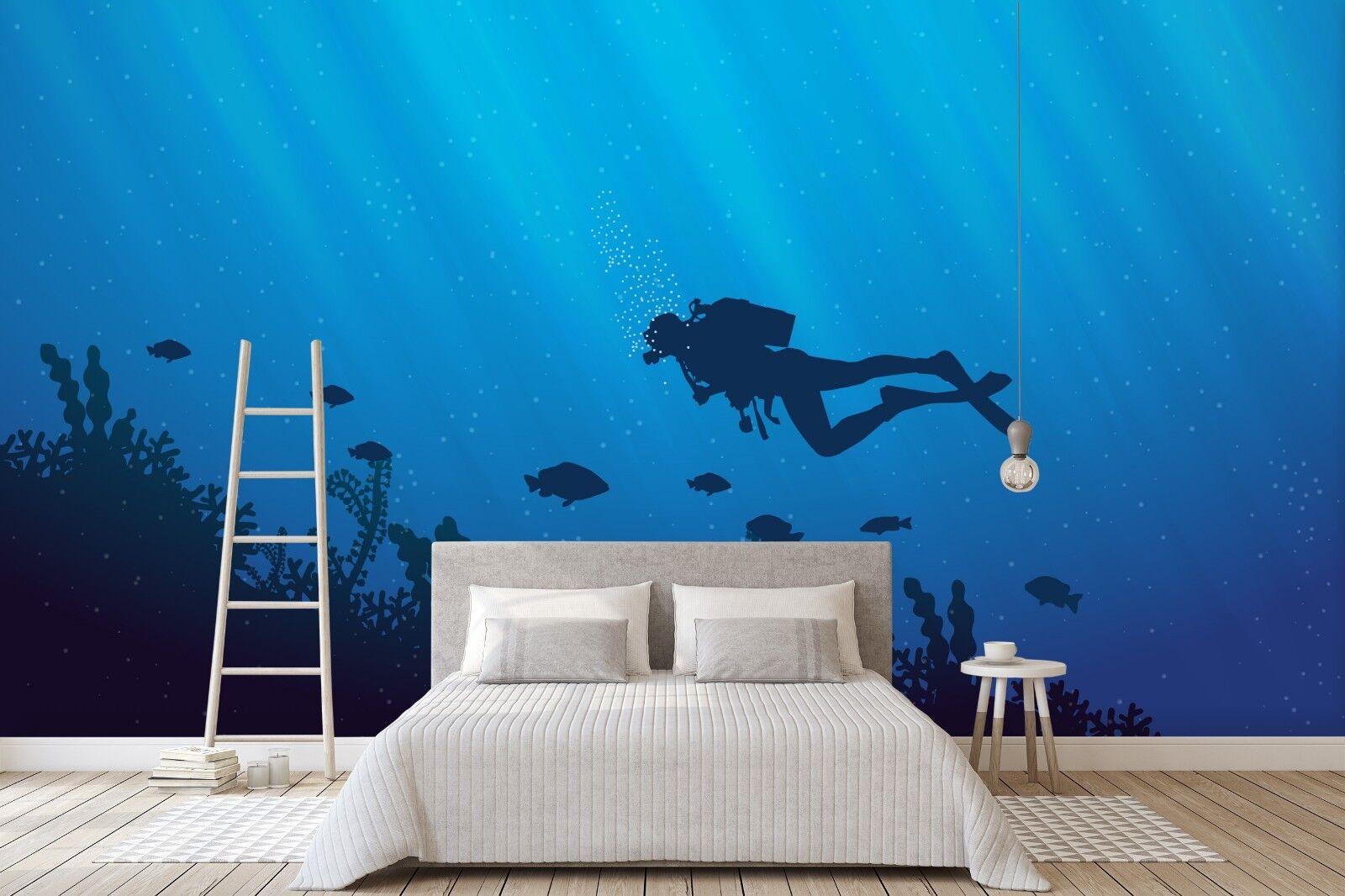 3D blue Ozean 7047 Tapete Wandgemälde Tapete Tapeten Bild Familie DE Sidney