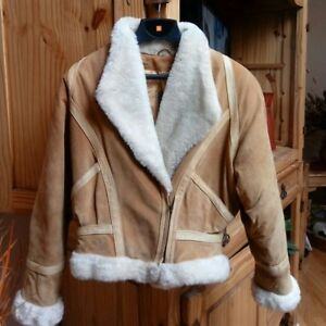 Fur Jacket Lined Suede Camel Brown leather YaOPw