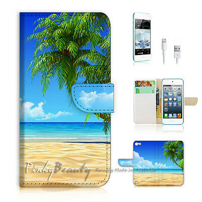 ( For iPod 5 / itouch 5 ) Flip Case Cover! Beach Tree Sea P0282