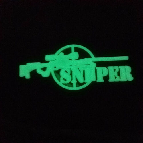 SNIPER 3D ARMY TACTICAL PVC MORALE BADGE RUBBER HOOK LOOP PATCH GLOW IN DARK //02
