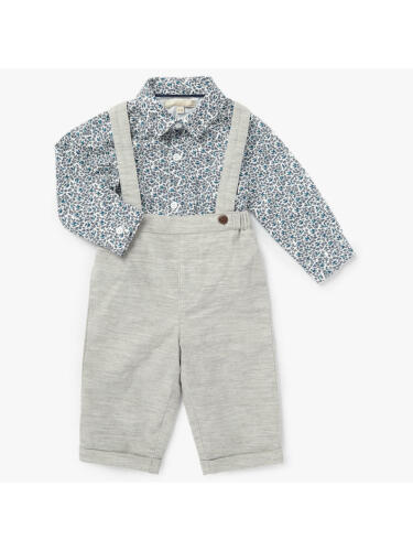 John Lewis Heirloom Collection Baby Shirt /& Dungaree Set Grey 6-9 Months New