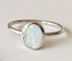 925-Sterling-Silver-Natural-Austrian-Opal-Gemstone-Ring-Solitaire-Stack-67-89-10