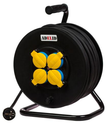 Kabeltrommel Stromkabel Baustellen 50m Gummi H05RR-F 3G1,5 IP44 höchste Qualität