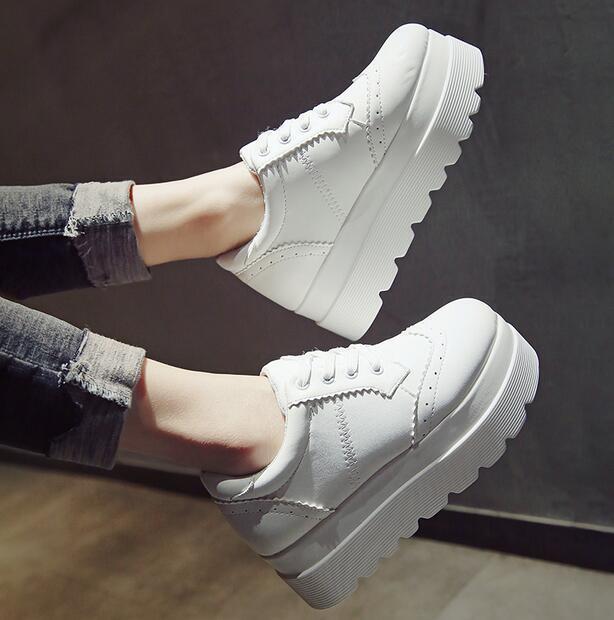 2017 Women's Pumps Wing-tip Brogue Lace Up Platform Falts Wedge Casual shoes 016