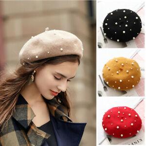 Warm-Lady-Beret-Women-Ski-Cap-Hat-Beanie-French-Pearl-Winter-27Style-Artist-Wool