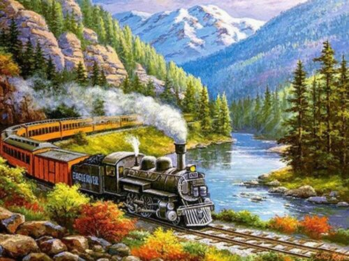 Train 5D DIY Full Drill Diamond Painting Cross Stitch Kits Mural Art Wall Decor