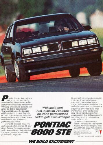 sedan 1985 Pontiac 6000 STE Classic Vintage Advertisement Ad A75-B