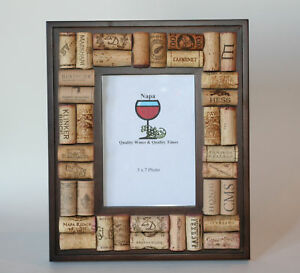 image is loading wine cork dark wood picture frame - Wine Picture Frames