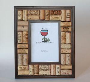image is loading wine cork dark wood picture frame - Wine Cork Picture Frame