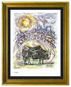 Pablo-Picasso-Signed-Hand-Numbered-Ltd-Ed-034-Bull-in-Arena-034-Litho-Print-unframed