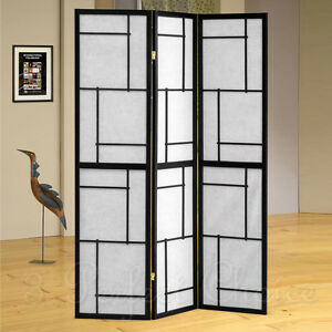 3 Folding Screen Panels Wood Divider Morden Shoji Room Oriental